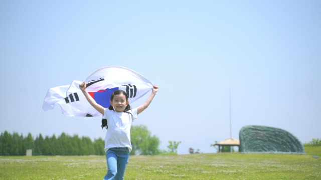 view of a girl running with the south korean flag in the park - south korean flag stock videos & royalty-free footage