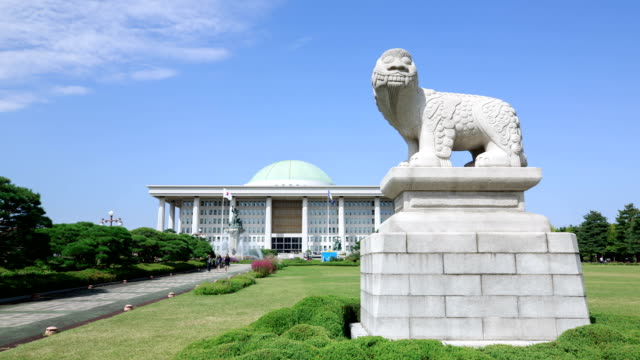 View of a Haetae (Mythical Unicorn-Lion) stone statue in the garden of National Assembly Building
