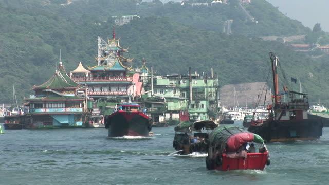 stockvideo's en b-roll-footage met view of a harbor in hong kong china - voor anker gaan