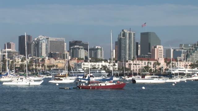 view of a harbor in san diego united states - ankrad bildbanksvideor och videomaterial från bakom kulisserna
