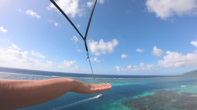 pov view of a man and woman couple parasailing tandem over a tropical island. - moorea stock videos & royalty-free footage