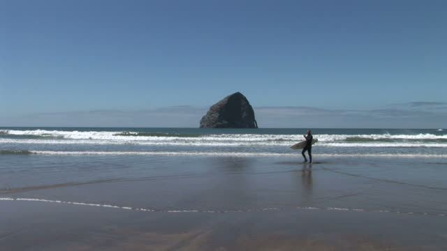 view of a man walking along the beach in oregon coast united states - oregon coast stock videos & royalty-free footage