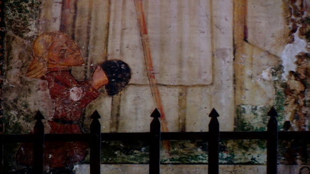 view of a medieval fresco at the church of saint maron in volperino. during the crusades the relics of saint maron, founder of the maronite order,... - the crusades stock videos & royalty-free footage