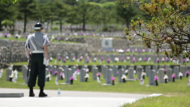 view of a military police at seoul national cemetery - mp stock videos & royalty-free footage