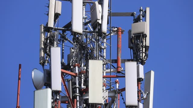view of a mobile phone mast with numerous cell phone antennas on december 22, 2020 in mexico city, mexico. - computer network stock videos & royalty-free footage