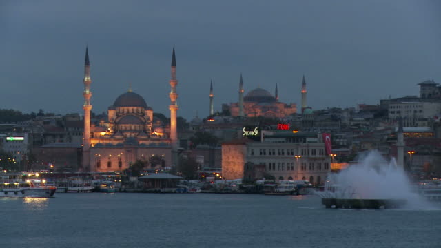 view of a mosque in istanbul turkey - yeni cami mosque stock videos and b-roll footage