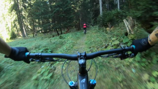 pov view of a mountain biker hands handlebars biking on a singletrack trail. - videocamera indossabile video stock e b–roll