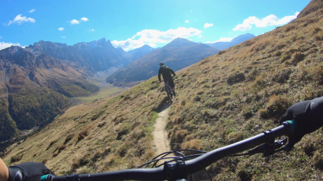 pov view of a mountain biker hands handlebars biking on a singletrack trail. - andare in mountain bike video stock e b–roll