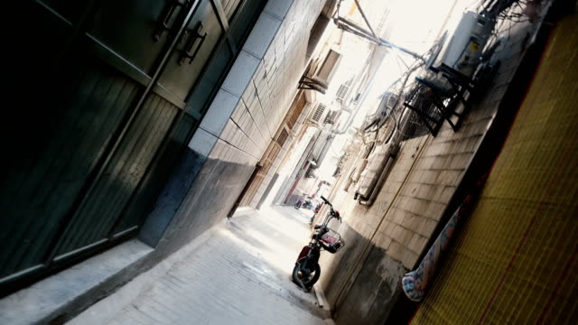 (vortex mode)view of a narrow alley,xi'an,china. - narrow stock videos & royalty-free footage