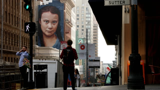 a view of a new fourstoryhigh mural of swedish climate activist greta thunberg on november 11 2019 in san francisco california a new mural honoring... - mural stock videos & royalty-free footage