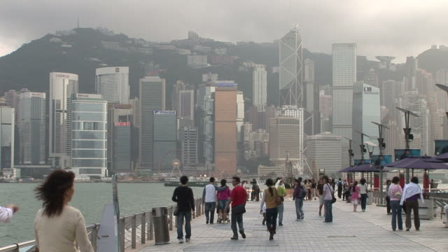 view of a pier in hong kong china - bank of china tower hong kong stock videos & royalty-free footage