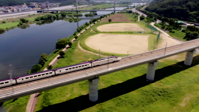 view of a running srt (high-speed railway) to daegu station, kyongsangbuk-do province - daegu stock videos and b-roll footage