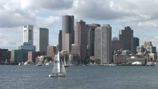 View of a sailboat cruising in Boston United States