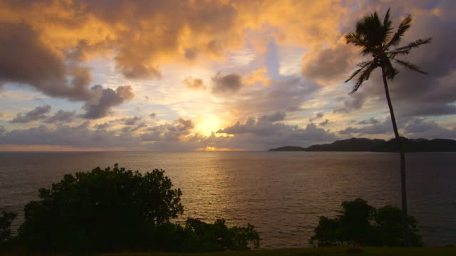 view of a scenic tropical island in fiji at sunset. - fiji stock videos & royalty-free footage