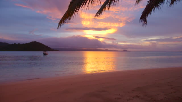 View of a scenic tropical island in Fiji at sunset.