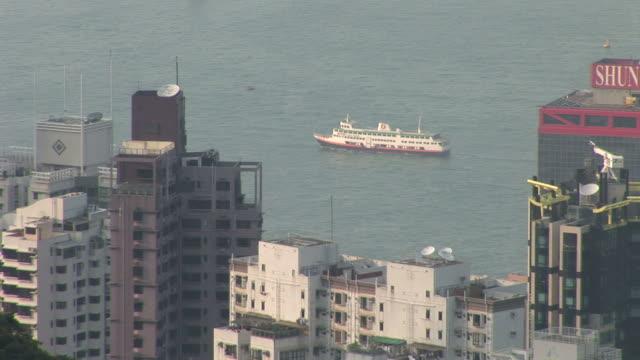 View of a ship cruising in Hong Kong China