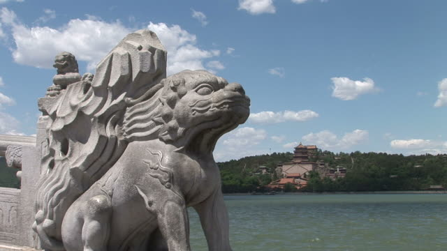 view of a statue in summer palace beijing china - summer palace beijing stock videos & royalty-free footage