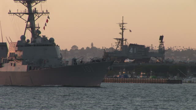 View of a stealth ship in San Diego United States