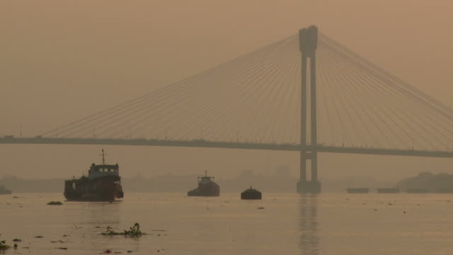 View of a suspended cable bridge in Kolkata, India