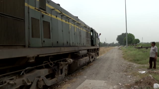 View of a train leaving Amritsar India to cross over the border into Pakistan
