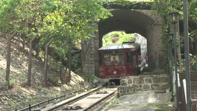 View of a tram passing in Hong Kong China
