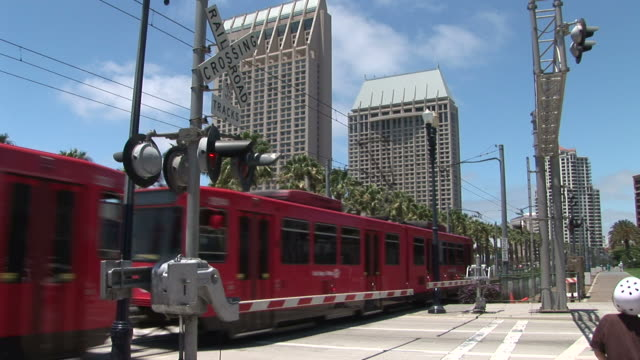 view of a tram way gate in san diego united states - monorail stock videos & royalty-free footage