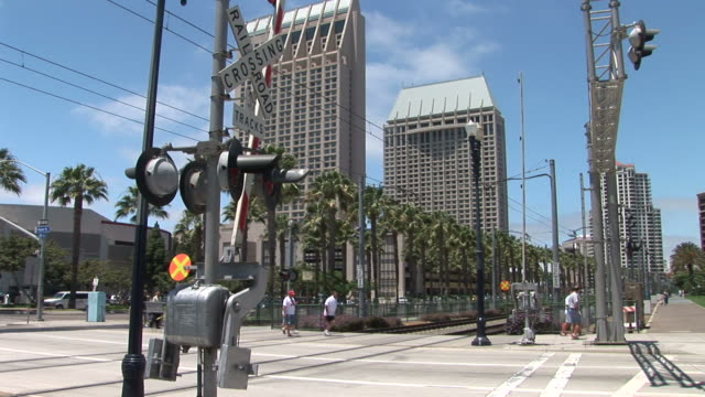 view of a tram way gate in san diego united states - fan palm tree stock videos & royalty-free footage