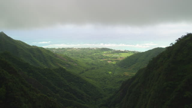 view of a valley leading to the ocean from a helicopter - kahuku stock videos & royalty-free footage