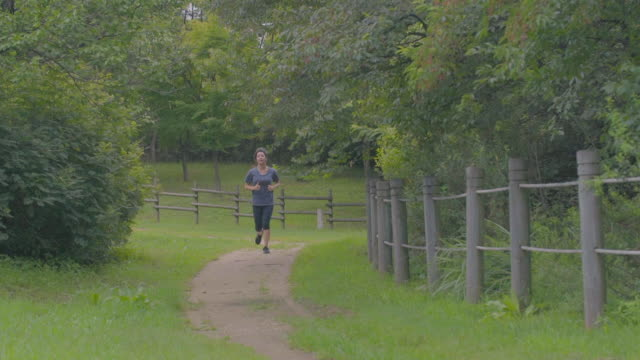 view of a woman running at a park - pedal pushers stock videos & royalty-free footage