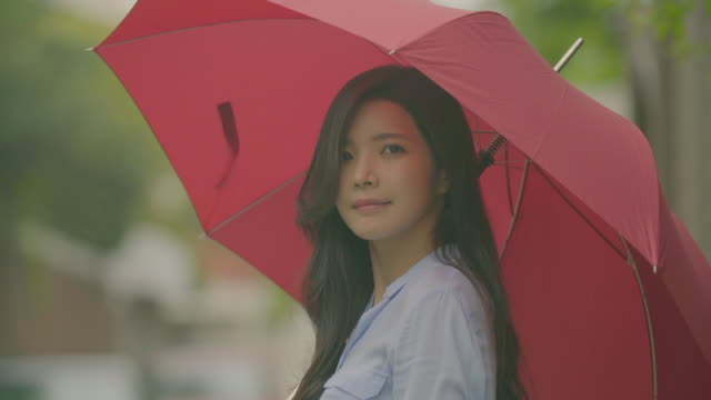 View of a woman with a red umbrella