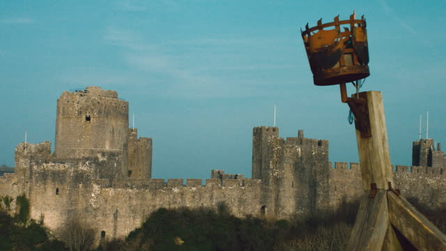 ms view of a wooden structure at pembroke castle / pembroke, wales, united kingdom - pembroke video stock e b–roll