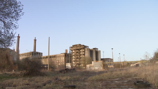 ws pan view of abandoned factory / berlin, germany - bad condition stock videos and b-roll footage