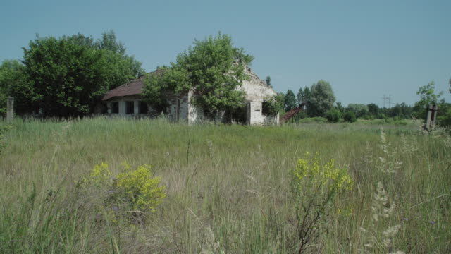 stockvideo's en b-roll-footage met view of abandoned houses in koshivka, chernobyl, on june 17, 2019. the chernobyl disaster was a catastrophic nuclear accident that occurred on 26... - kernramp van tsjernobyl