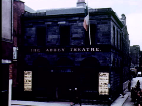 ws td  view of  abbey theatre, dublin, ireland / audio - sign stock videos & royalty-free footage