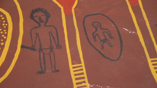 ms pan view of aboriginal tiwi art / northern territory, australia - indigenous culture stock videos & royalty-free footage