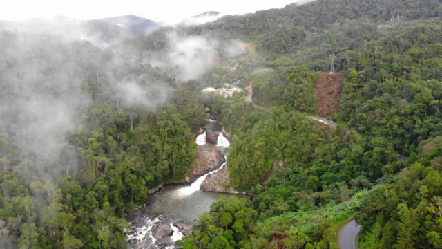 View of above waterfall in deep forest