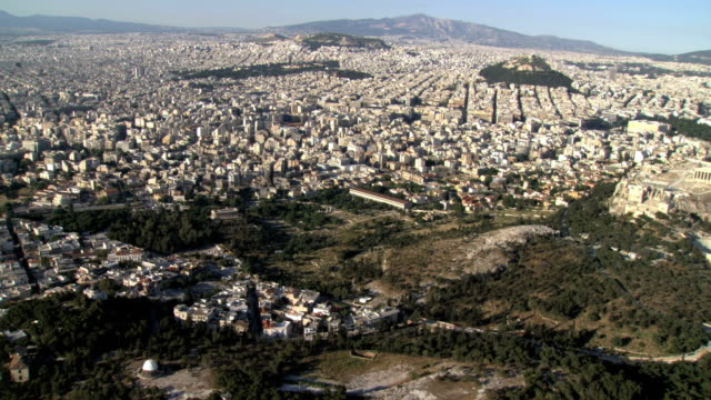 ws aerial zi view of acropolis and old agora / acropolis, athens, greece - athens greece stock videos and b-roll footage