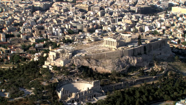 ws aerial zi view of acropolis and old agora / acropolis, athens, greece - acropolis athens stock videos and b-roll footage