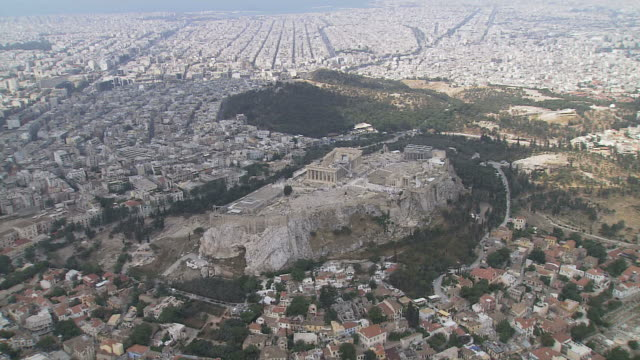 ws aerial zi view of acropolis citadel / acropolis, athens, greece - athens greece stock videos & royalty-free footage