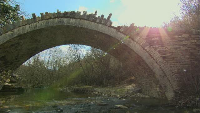ws pan view of agios minas bridge / dilofon, ipiros, greece - minas stock videos and b-roll footage