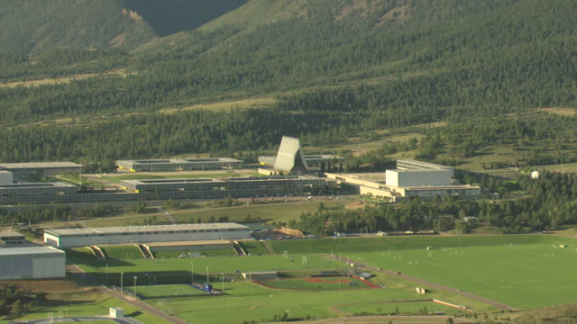 WS DS ZI AERIAL View of air force acedemy campus and cadet chapel with seventeen spires roof top pointing to sky / Colorado, United States