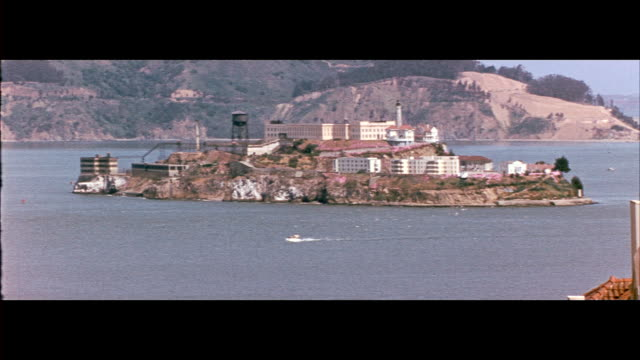1955 view of alcatraz island and golden gate bridge - alcatraz island stock videos & royalty-free footage