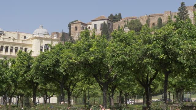 vídeos de stock e filmes b-roll de view of alcazaba from jardines de pedro luis alonso, malaga, andalucia, spain, europe - por volta do século 11 dc