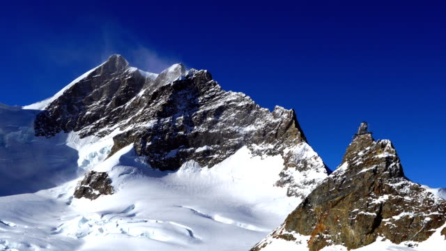 view of aletsch glacier in jungfrau (one of the main summits of bernese alps) - bernese alps stock videos & royalty-free footage