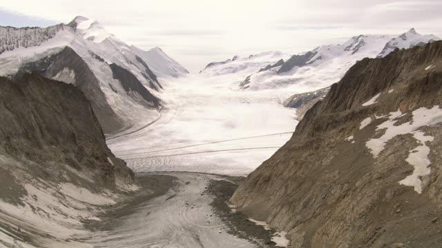 WS AERIAL View of Aletsch Glacier with Konkordia hut and impressive Konkordiaplatz / Konkordiaplatz, Valais, Switzerland