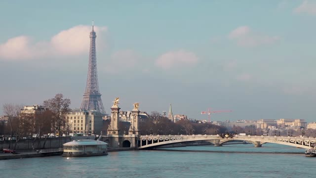 view of alexander iii bridge and eiffel tower in paris france - pont alexandre iii stock videos & royalty-free footage