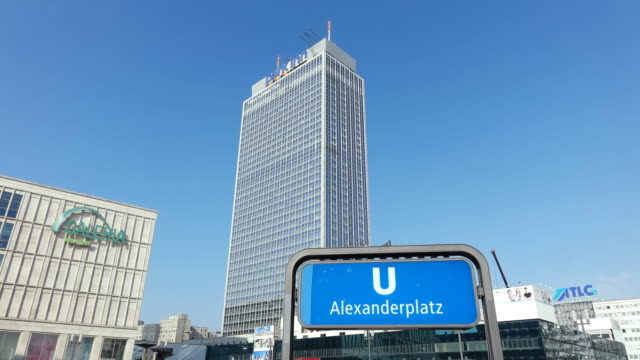 ws view of alexanderplatz / berlin, germany - placard stock videos & royalty-free footage