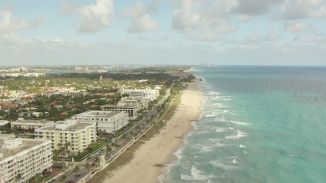 WS AERIAL View of along beach / Palm Beach, Florida, United States