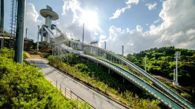 view of alpensia ski jumping stadium in pyeongchang (2018 winter olympics) - pyeongchang stock videos and b-roll footage