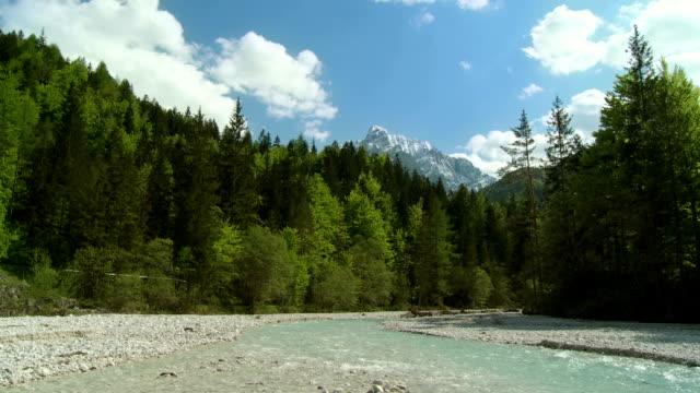 WS PAN View of Alpine creek Pisnica / Kranjska gora, Slovenia